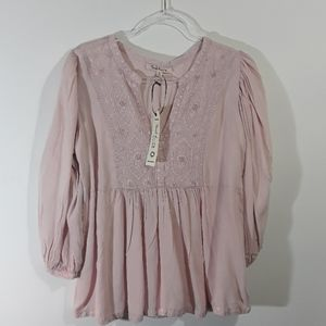 SOLITAIRE Pink embroidered peasant boho top sz S